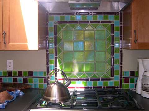 Green Stove Backsplash